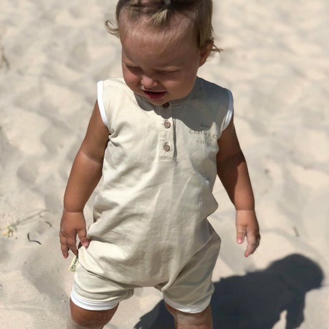 c296a0446c4 Shortall playsuit - Frosted almond – Baby Charley Co.