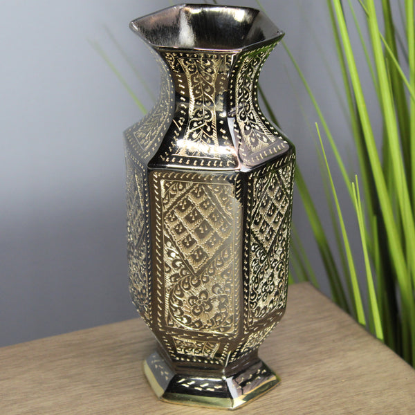"Natural Geo Brass Abstract Hexagonal 8"" Bottle Vase"