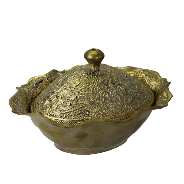 Natural Geo Decorative Golden Brass Pot Oval Bowl with Lid
