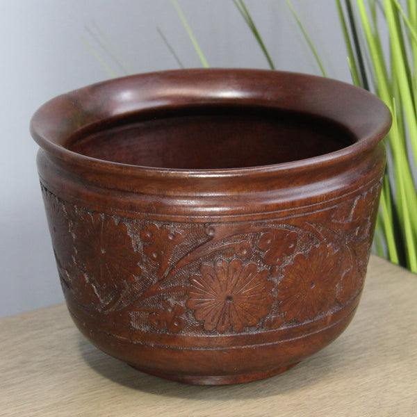 "Natural Geo Handcarved Rosewood Decorative 7"" Wooden Bowl"