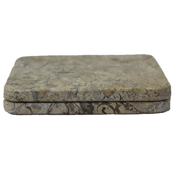 Natural Geo Beige Decorative Square Marble Drink Coaster (Set of 6)