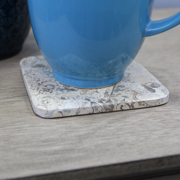 Natural Geo Beige Decorative Square Marble Drink Coaster (Set of 2)