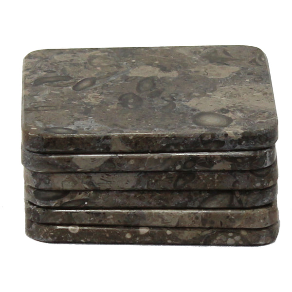 Natural Geo Gray Square Marble Drink Coaster (Set of 6)