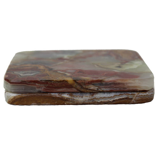 Natural Geo Multicolored Decorative Square Onyx Drink Coaster (Set of 2)
