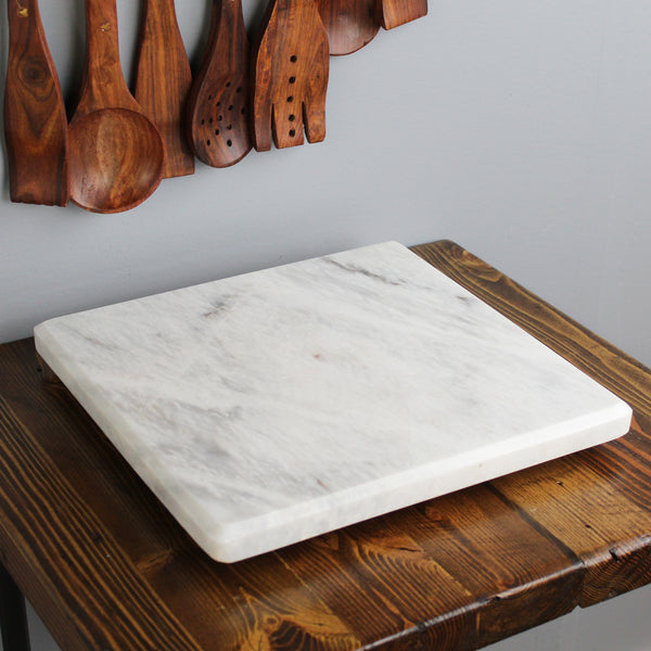Natural Geo Decorative White Square Marble Kitchen Cutting Board