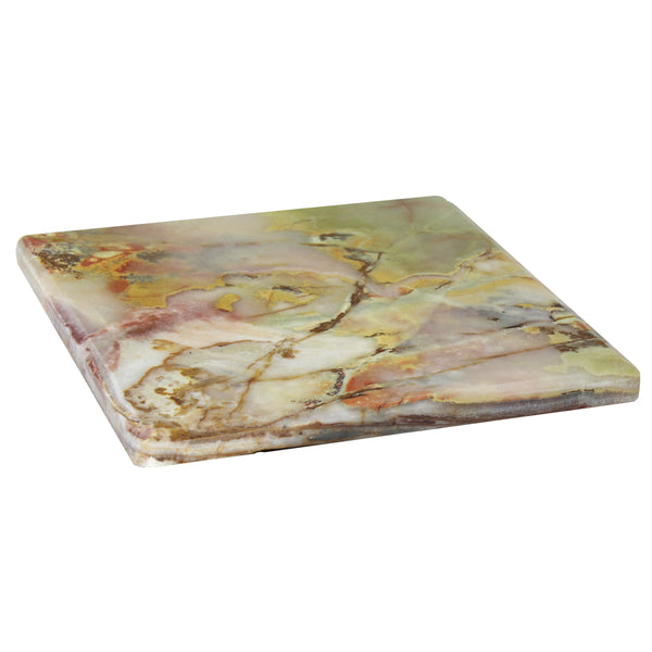 Natural Geo Decorative Multicolored Square Onyx Kitchen Cutting Board