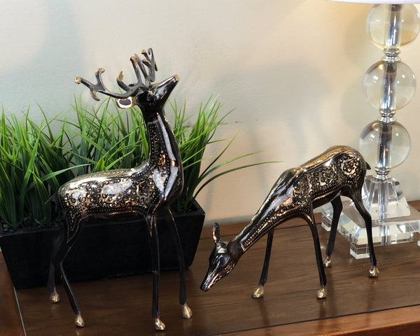 Natural Geo Set of 2 Brass Deer Decor Set
