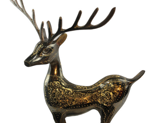 Natural Geo Left Facing Brass Deer On Ball Décor