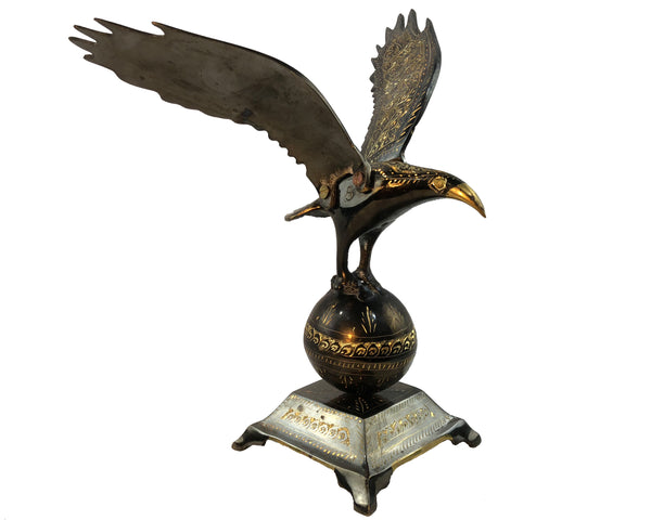 Natural Geo Brass Falcon Figurine Decor