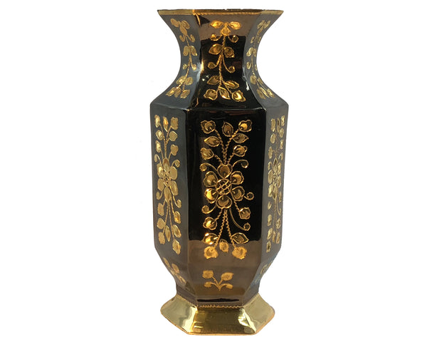 Natural Geo Brass Hexagonal Floral Bottle Decor