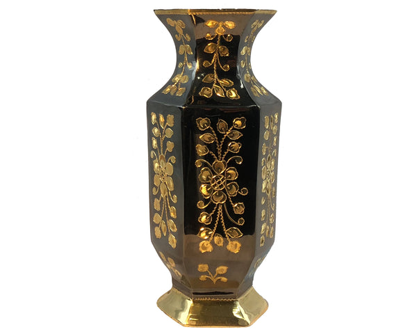 Natural Geo Brass Hexagonal Floral Bottle Décor