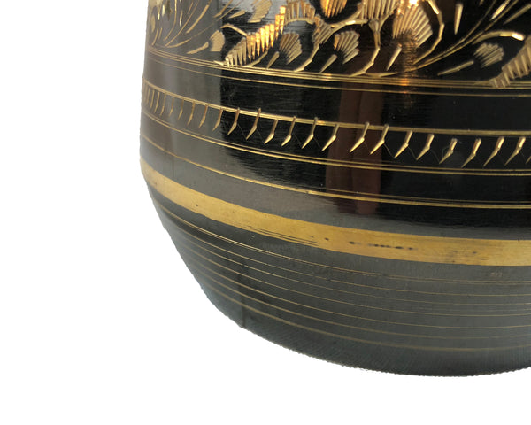 Natural Geo Brass Floral Black/Gold Table Vase