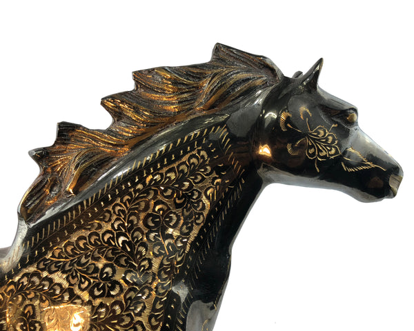 Natural Geo Brass Horse Figurine Decor