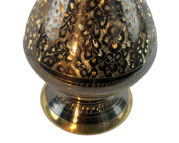 "Natural Geo Brass Elegant Black/Gold 11"" Table Vase"