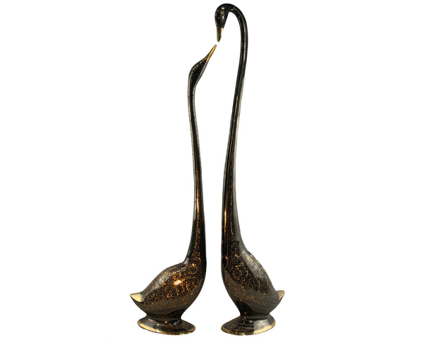 Natural Geo Set of 2 Brass Swan Decor Set