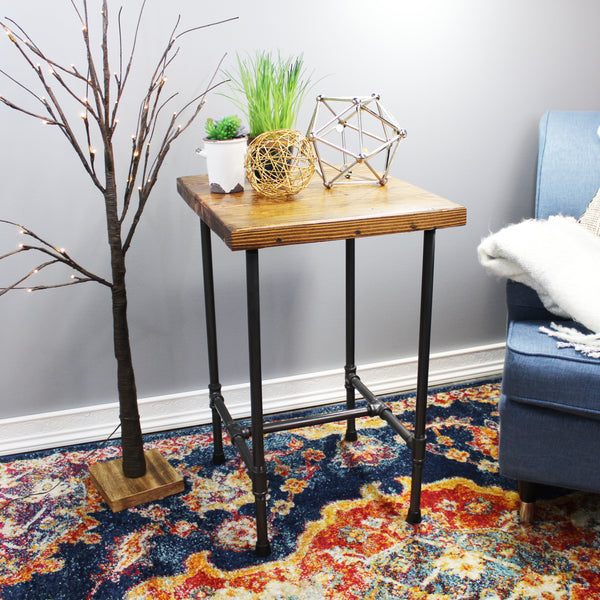 Natural Geo Dublin Rustic Pipe Wooden End Table