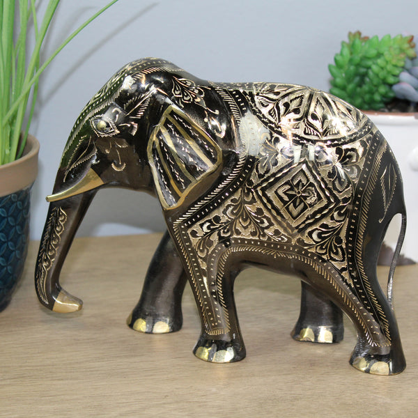 Natural Geo Decorative Golden Brass Elephant Figurine