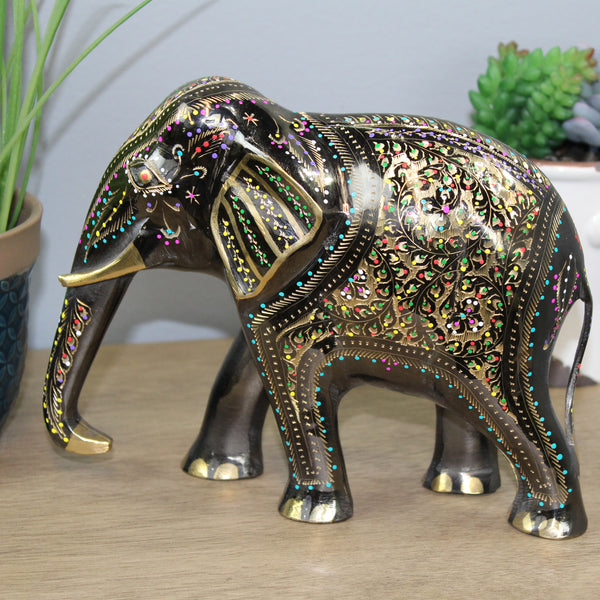 Natural Geo Decorative Golden/Multicolored Brass Elephant Figurine