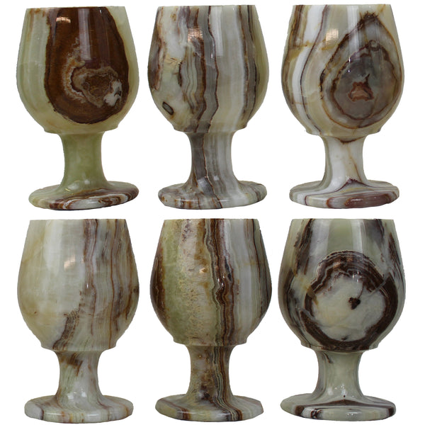 Natural Geo Decorative Handcrafted Onyx Glass (Set of 6)