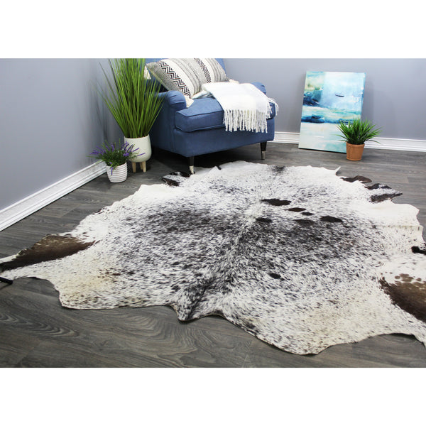 "Natural Geo White/Brown Cowhide Animal Area Rug 5' 11"" x 6' 4"""