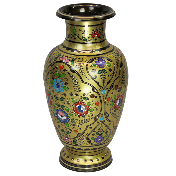 "Natural Geo Decorative Brass 18"" Yellow/Gold Floral Chinese Jar"