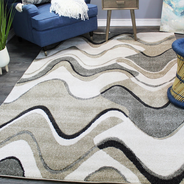 Natural Geo Jasmine Modern Wavy Abstract Ivory/Gray Area Rug