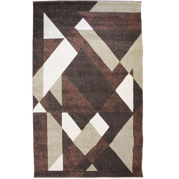 Natural Geo Jasmine Modern Geometric Abstract Chocolate/Brown Area Rug