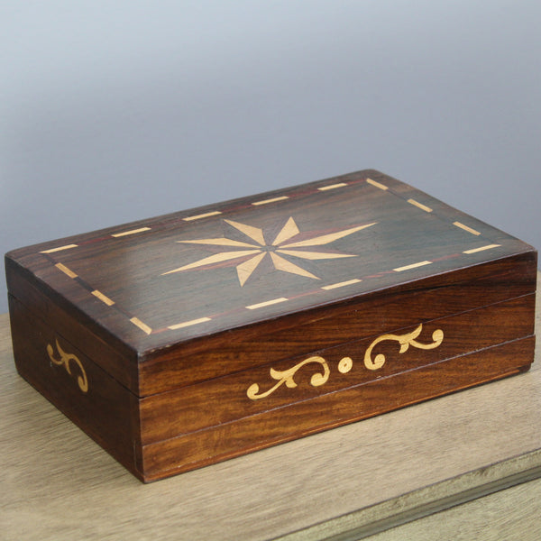 Natural Geo Handmade Rosewood Star Wooden Jewelry Box