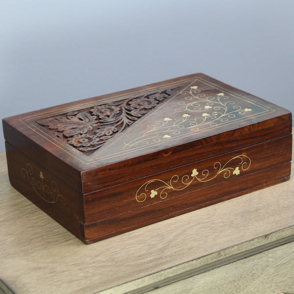 Natural Geo Handmade Rosewood Carved Wooden Jewelry Box