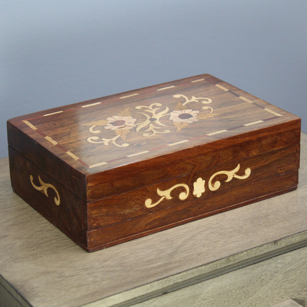 Natural Geo Handmade Rosewood Floral Wooden Jewelry Box