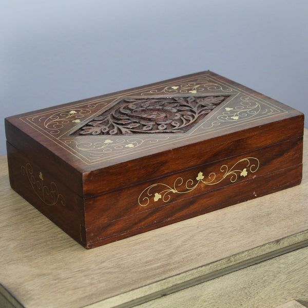 Natural Geo Handmade Rosewood Diamond Wooden Jewelry Box