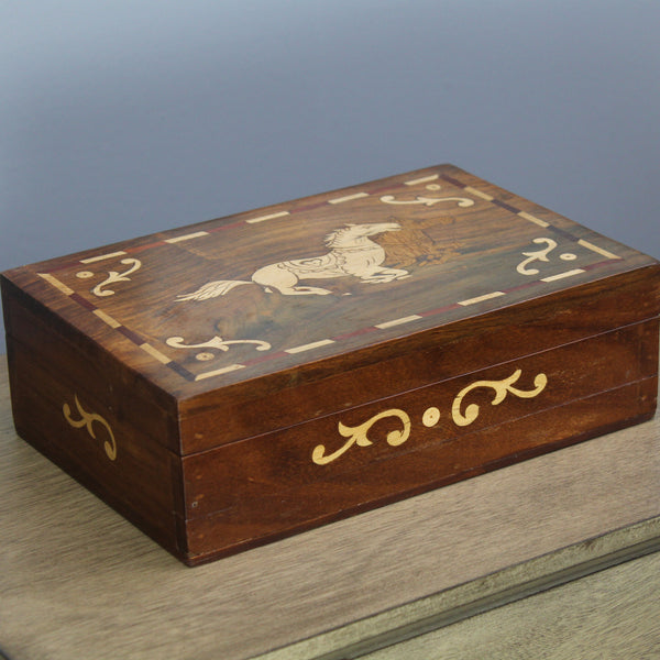 Natural Geo Handmade Rosewood Horse Wooden Jewelry Box