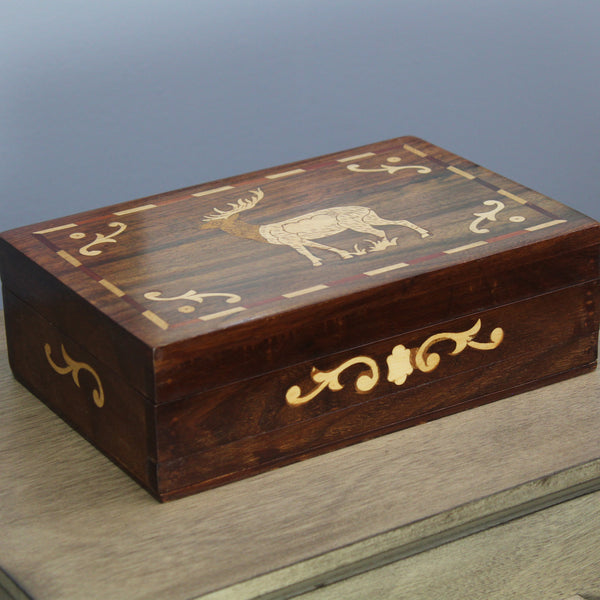 Natural Geo Handmade Rosewood Elk Wooden Jewelry Box