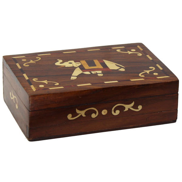Natural Geo Handmade Rosewood Brown Elephant Wooden Decorative Box