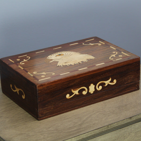 Natural Geo Handmade Rosewood Hawk Wooden Jewelry Box