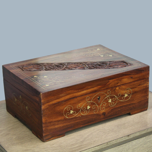Natural Geo Handmade Rosewood Carved Wooden Jewelry Box with Key