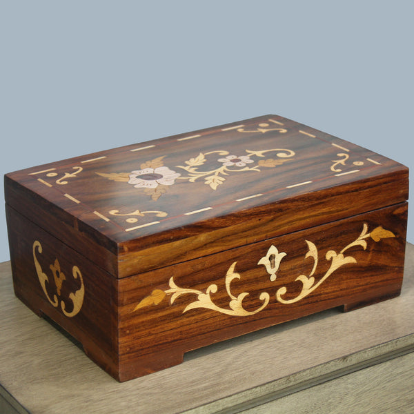 Natural Geo Handmade Rosewood Floral Wooden Jewelry Box with Key