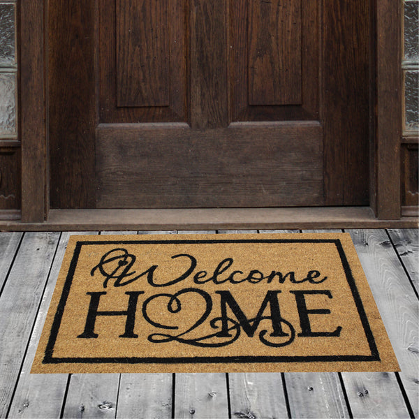 Natural Geo Island Welcome Home Beige/Black Natural Coir Door Mat 18 x 30""