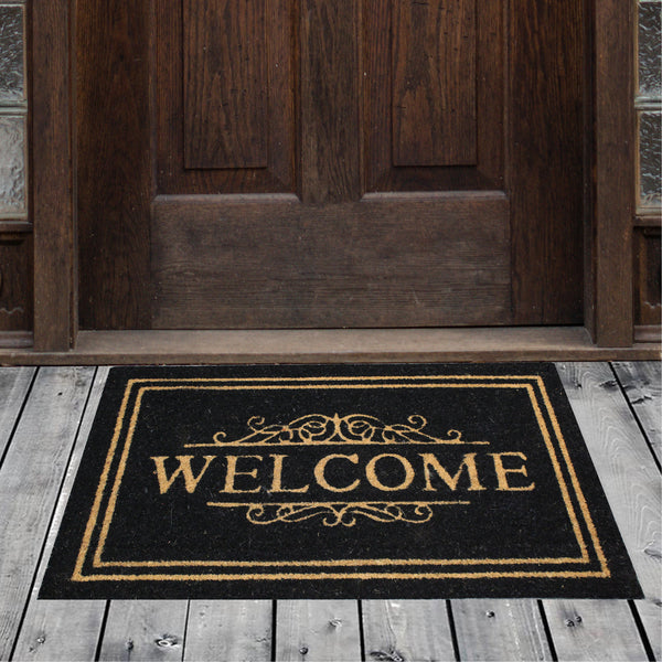 Natural Geo Island Classic Welcome Black/Beige Natural Coir Door Mat 20 x 31""