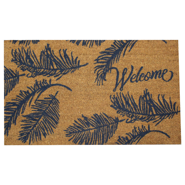 Natural Geo Island Ferns Welcome Beige/Blue Natural Coir Door Mat 18 x 30""