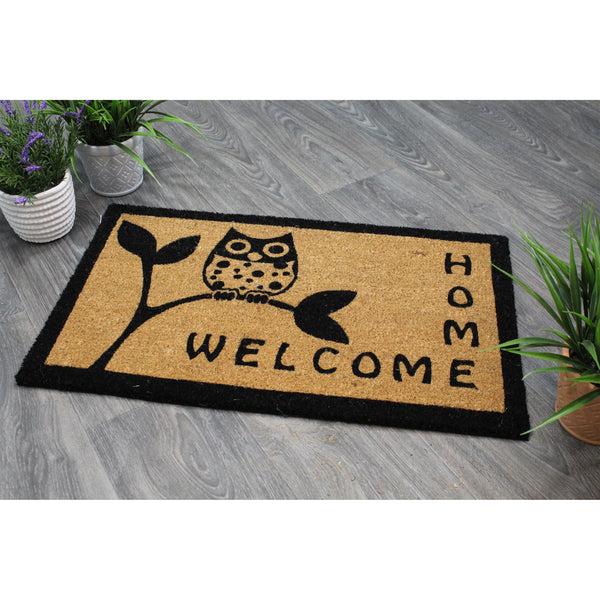Natural Geo Island Sitting Owl Beige/Black Natural Coir Door Mat 18 x 30""