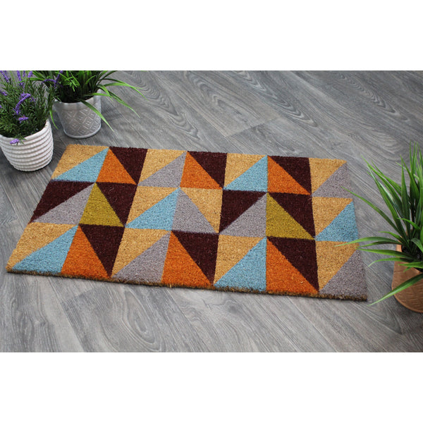 Natural Geo Island Triangles Multicolored Natural Coir Door Mat 18 x 30""