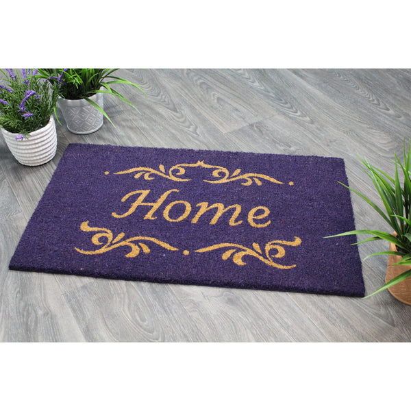 Natural Geo Island Classic Home Purple Natural Coir Door Mat 18 x 30""