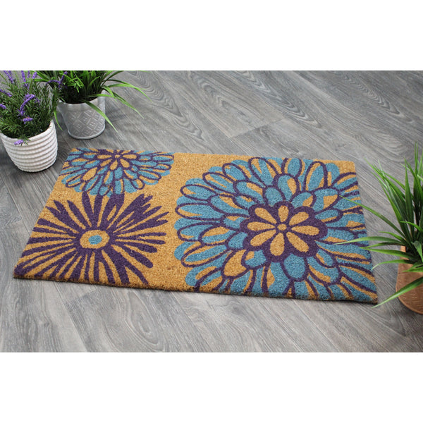 Natural Geo Island Abstract Floral Blue/Purple Natural Coir Door Mat 18 x 30""
