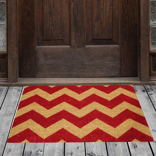 Natural Geo Island Chevron Black/Red Natural Coir Door Mat 20 x 31""