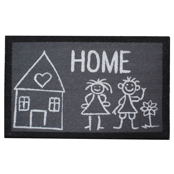 Natural Geo Island Loving Family Home Gray/White Natural Coir Door Mat 20 x 31""