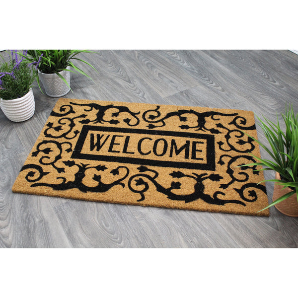 Natural Geo Island Paisley Welcome Black/Beige Natural Coir Door Mat 20 x 31""