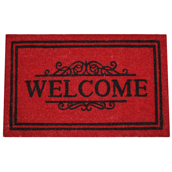 Natural Geo Island Bordered Welcome Red/Black Natural Coir Door Mat 20 x 31""