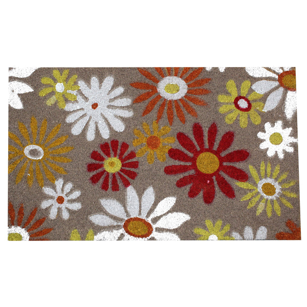 Natural Geo Island Sunflower Floral Multicolored Natural Coir Door Mat 18 x 30""