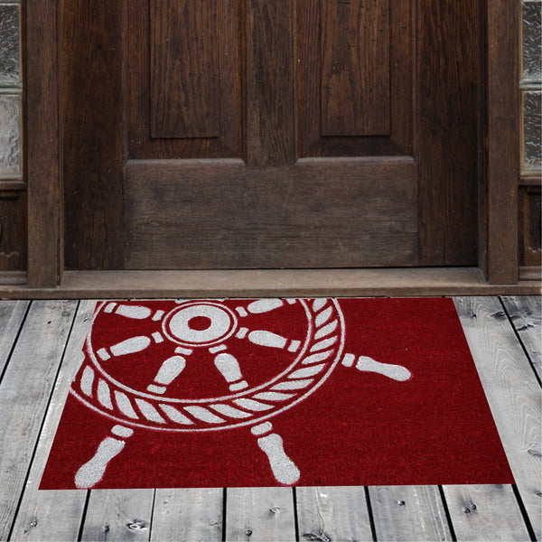 Natural Geo Island Ship Wheel Red/White Natural Coir Door Mat 20 x 31""